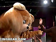 Dancing bear entertains girls and makes way for pumped stripper, who fucks busty participant of hen-party 3
