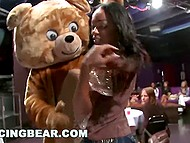 Dancing bear entertains girls and makes way for pumped stripper, who fucks busty participant of hen-party 4