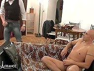 Handsome guy invites his friend to fuck hot MILF from France and piss on her sexy body 4