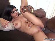 Seems that tiny pussy of busty Arab Mia Khalifa is too tight for long black weapon 10