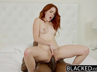 Black-skinned guard sees fiery-red Armana Miller naked in bedroom and feels his rod getting harder