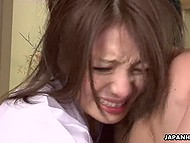 Whorish Japanese girl didn't remember such a powerful squirt like she got today with two guys 8