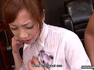 Petite secretary from Japan is honored to get pussy fucked by boss and his business partner in office 9