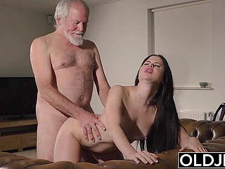 There are no men around except old landlord so brunette has nothing to do but to use his penis
