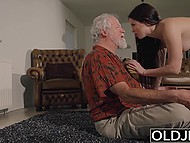There are no men around except old landlord so brunette has nothing to do but to use his penis 4