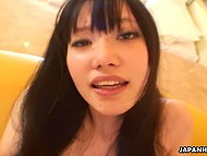 Silent boyfriend keeps moving cock inside hairy pussy of his fragile girlfriend from Japan 8