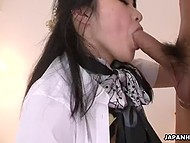 Man can't stop Japanese girlfriend from sucking his dick but it's time for it to visit unshaven cunny 6