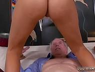 Old man lives for too long not in vain if he gets lucky to throw a leg to Portuguese babe with perfect ass 10