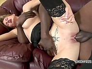 Nothing else matters for loud blonde chick when huge black cock tears shaved pussy apart 4
