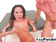 It was a great idea for Asa Akira to take part in threesome with high-born stallions 10