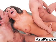 It was a great idea for Asa Akira to take part in threesome with high-born stallions 6