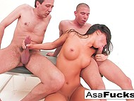 It was a great idea for Asa Akira to take part in threesome with high-born stallions 7