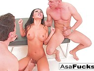 It was a great idea for Asa Akira to take part in threesome with high-born stallions 9