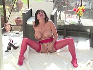 Glass gazebo was meant to be a place for succulent MILF with big tits where she could masturbate