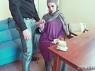 Guard brings shy-looking Arab girl to his boss, who offers her an unusual way to earn money 10
