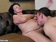 Mature woman from Europe was burning with desire when younger guy started licking her cunt