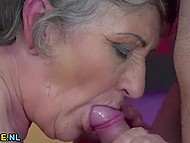 Old woman didn't lose her seducing skills through years and now got young cock in hairy muff 6