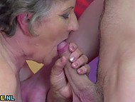 Old woman didn't lose her seducing skills through years and now got young cock in hairy muff 7