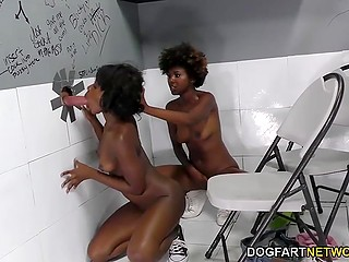 Белый хуй нагло отымел двух чёрных самочек в их горячие ротики через дыру в туалете