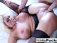Permanently horny big-boobied Nikita Von James lured athletic guy in bed with her bazookas