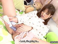 Teen Japanese girl doesn't play with plush toys anymore treating innocent pussy with vibrator