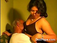 Maт set Indian young woman on his knees and discreetly took cock out to make her ride it