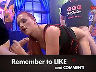 Sexual excitement mesmerizes girl and makes her give pussy to crowd of men who cum on her face 5