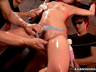 Crowd of Japanese perverts has full control over tied cutie and her moist peach