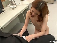 Mature boss admires hairy pussy of Japanese secretary and wants her blow his dick out in office 7