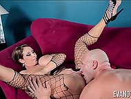 Hot MILF Eva Notty gives baldheaded guy nice blowjob and he returns the favor by licking her sweet pussy