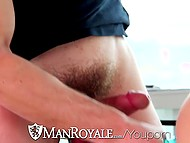 Delivery guy shows confused gay how blue vibrator works and drills his asshole with cock 7