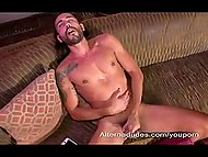 Bearded twink with pierced nipples unties hair and jerks off to bring himself to ejaculation