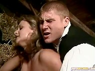 Vintage porn: milkmaid with huge breasts gets two dicks in spacious cunt in the hayloft 11
