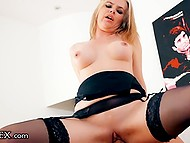 Dirty-minded British lady in stockings drives younger guy crazy to put vagina on his cock 5
