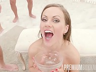 Many naked guys are staying in queue to fuck fearless Lithuanian Tina Kay and cum in her mouth 10