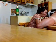 Bottle of beer becomes empty, so Bulgarian housewife needs to cheer husband up with mouth