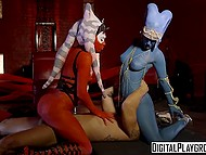 Two sexy assistants of Sith Lord distract commander's attention with their hot shapes 10