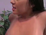 Broad with small tits wants to be the best lover for boyfriend and tries her best moving pelvis towards his cock 10