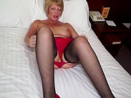 Lonely dame with huge tits is used to satisfy sexual desire on her own with help of big dildo 4