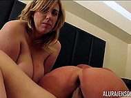 Curvaceous MILF Alura Jenson invited chubby girlfriend to conjugate together with man 3