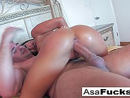 Asian pornstar Asa Akira wanted to give blowjob to BF while he was sleeping but he woke up 5