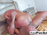 Asian pornstar Asa Akira wanted to give blowjob to BF while he was sleeping but he woke up 7