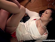 Asian honey with hairy pussy was caught and fucked by pervert while being unconscious