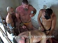Excited middle-aged boys bring bearded inmate with mohawk to bathroom and assfuck him in turn 5