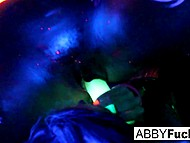 Playful thing Abigail Mac and her girlfriend poke pussies with glowing vibrators in ultraviolet 8