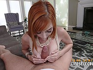 Redhead willingly fell for sweet words of experienced lovelace who lured her into fucking at ease 5