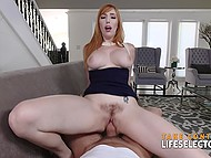 Redhead willingly fell for sweet words of experienced lovelace who lured her into fucking at ease 7
