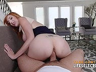 Redhead willingly fell for sweet words of experienced lovelace who lured her into fucking at ease 9