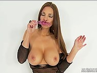 Cute MILF with big titties talks dirty and slowly shoves ribbed dildo deep inside trimmed pussy 5