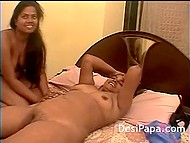 Amateur Indian girl took silver vibrator to touch trimmed pussy of her bashful girlfriend 5